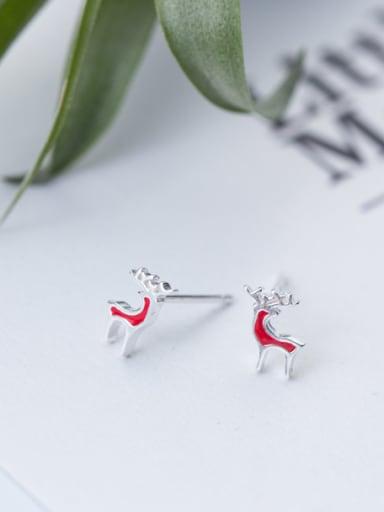 Lovely Deer Shaped Pink S925 Silver Glue Stud Earrings