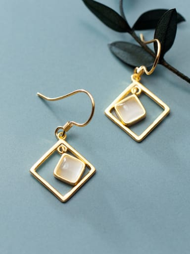 925 Sterling Silver With Gold Plated Simplistic Geometric Hook Earrings