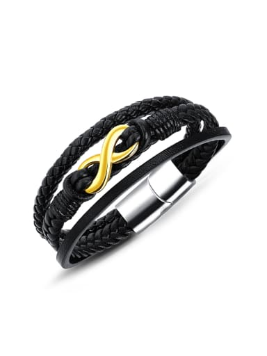 Multi-band Woven Artificial Leather Eight-shaped Bracelet