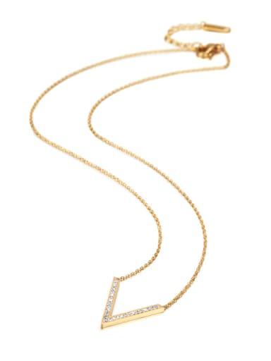 Simple Style Female White Zircon V Shaped Titanium Necklace