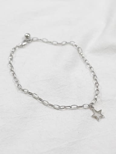 Simple Little Star Silver Anklet
