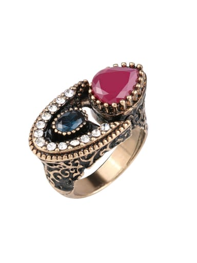 Personalized Retro style Resin stones Rhinestones Alloy Ring