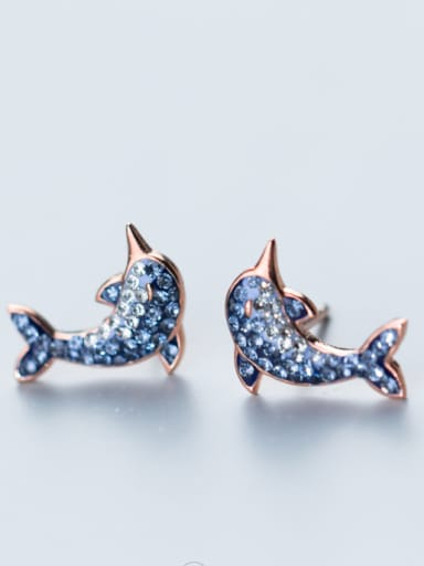 Pure silver Rhinestone gradually change the Blue Dolphin Earrings