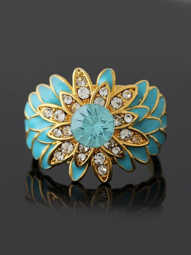 Exaggerated Retro style Cubic Rhinestones Flowery Alloy Ring