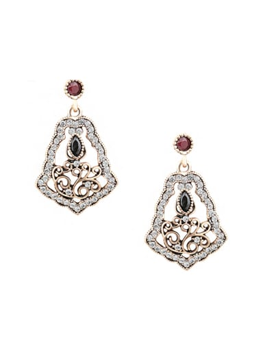 Retro style Hollow Resin stones White Rhinestones Alloy Drop Earrings
