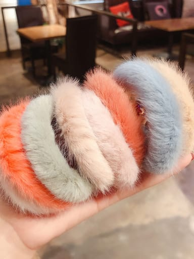 Simple personality colored plush hair ring