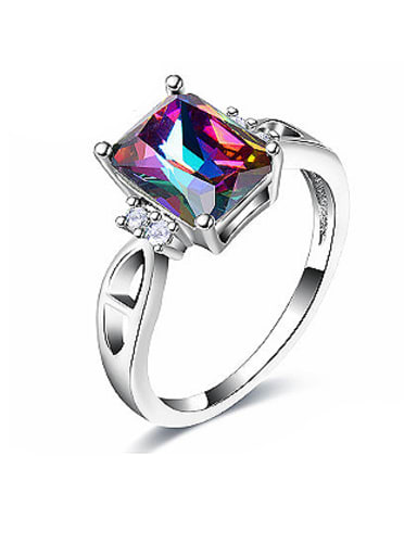 Exquisite Square Shaped Glass Bead Ring
