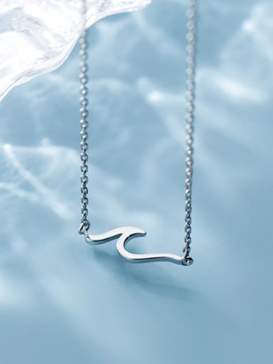 925 Sterling Silver With Platinum Plated Simplistic Irregular Necklaces