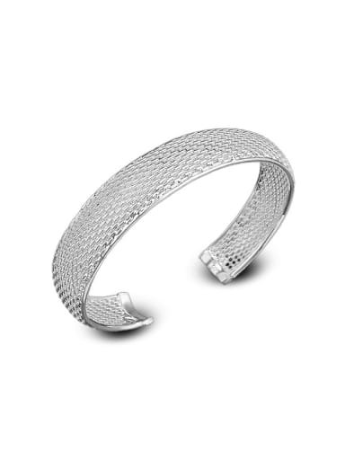 Simple Silver Plated Copper Opening Women Bangle