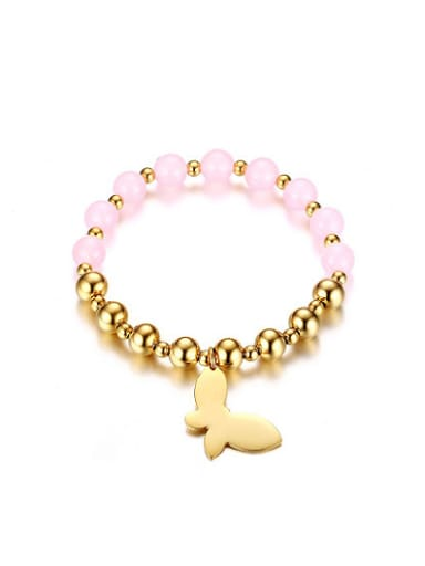 Fresh Pink Butterfly Shaped Stone Stainless Steel Bracelet