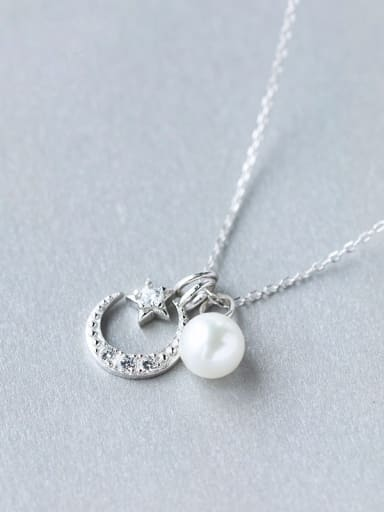 S925 Silver Star Moon and Shell Pearl  Sweet Necklace Set With CZ