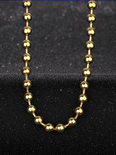 Simple 6mm Beads Gold Plated Copper Necklace