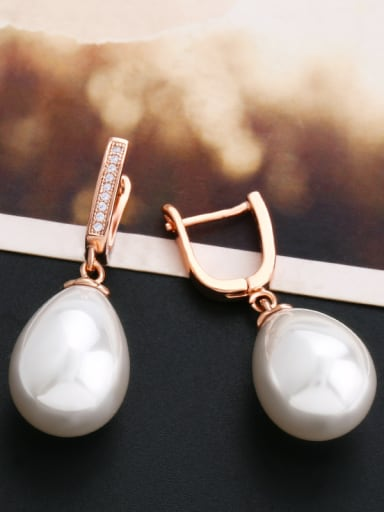 Copper With  Imitation Pearl Classic Water Drop Drop Earrings
