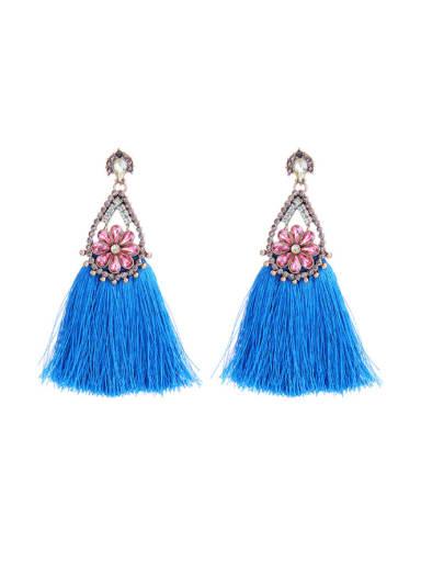 Blue Tassel Rhinestones Stud Chandelier earring