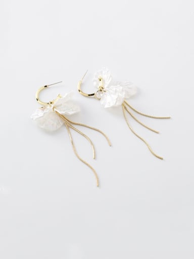 Alloy With Imitation Gold Plated Fashion Flower Hook Earrings