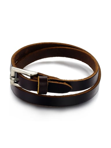 Retro style Brown Artificial Leather Men Bracelet