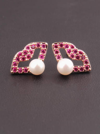 Sterling Silver Ear Needle  Lips Ruby Pearl  Sweet Personality stud Earring