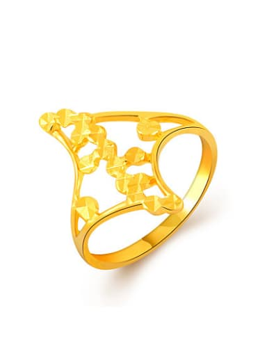 High Quality 24K Gold Plated Diamond Shaped Ring