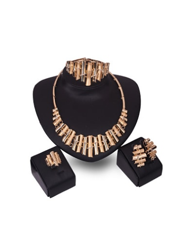 Alloy Imitation-gold Plated Creative Rhinestones Bamboos-shaped Four Pieces Jewelry Set