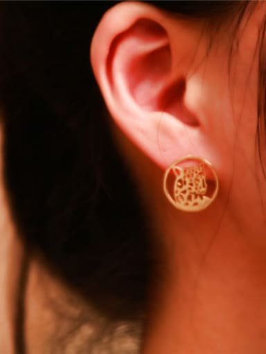 Rose Gold Plated Retro Stud Earrings