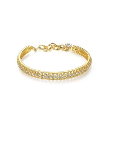 Copper With Cubic Zirconia  Simplistic Hollow  Lock heart  Bracelets