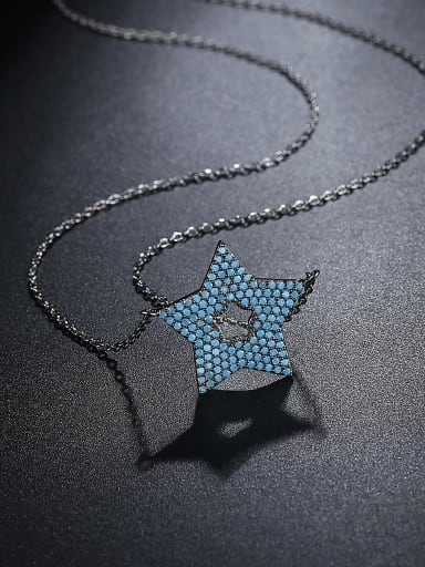 Copper inlay AAA zircon blue five-pointed star necklace