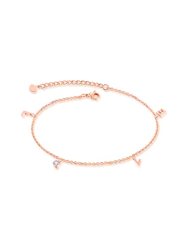 Simple Little Letter Rhinestone Rose Gold Plated Anklet