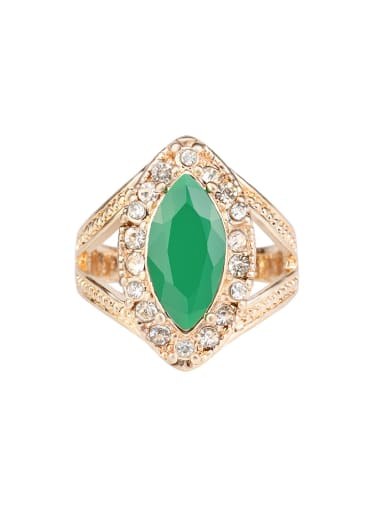 Retro style Oval Green Resin Stone Rhinestones Alloy Ring