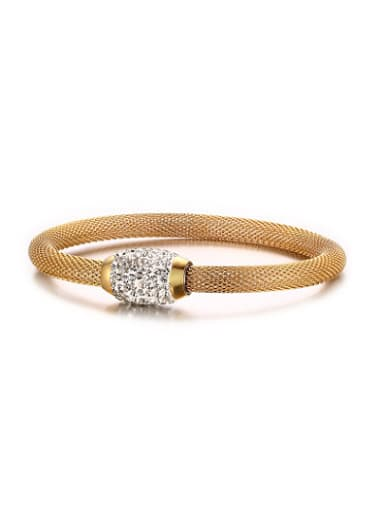 Exquisite Gold Plated Net Shaped Rhinestone Bangle