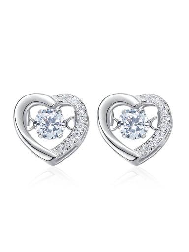 Fashion Hollow Heart Cubic Rotational Zircon 925 Silver Stud Earrings
