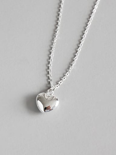 925 Sterling Silver With Platinum Plated Classic Heart Long Necklaces