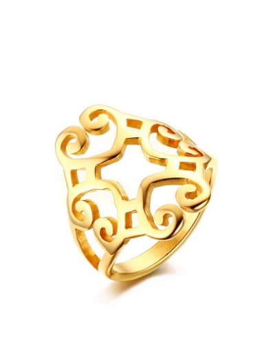 Fashionable Hollow Design Gold Plated Titanium Ring