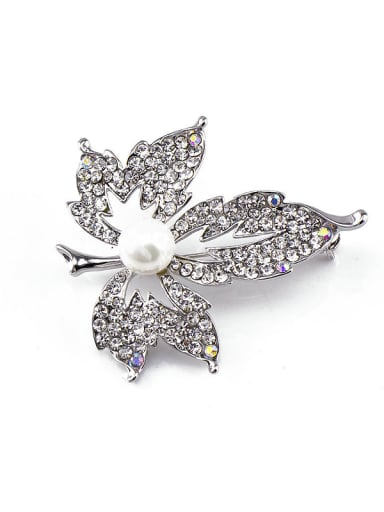 Leaf-shaped Crystals Pearl Brooch