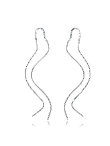 925 Sterling Silver With Glossy line Simplistic Fringe  Earrings