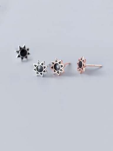 925 Sterling Silver With Rose Gold Plated Cute Sun Flower Stud Earrings