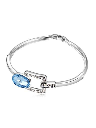 Simple Oval Swarovski Crystal Alloy Bracelet