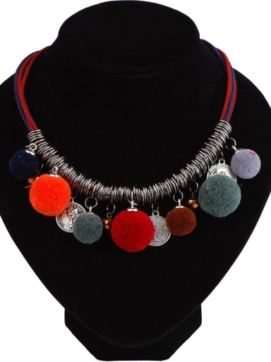 Retro style Pompon Ancient Coins Alloy Necklace