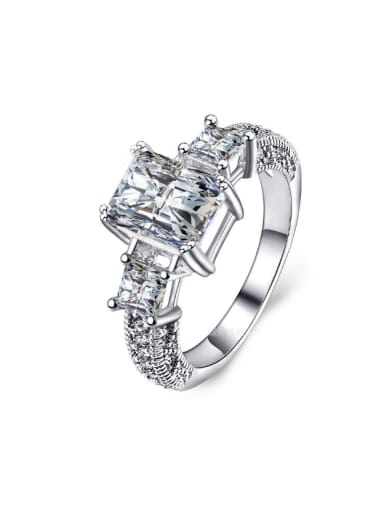 AAA Zircons White Gold Plated Fashion Ring