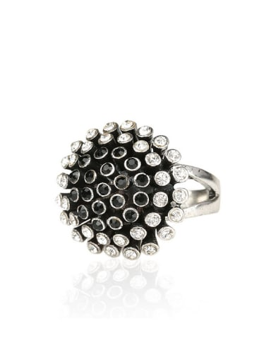 Personalized Chrysanthemum Flower Black Resin stones White Crystals Ring