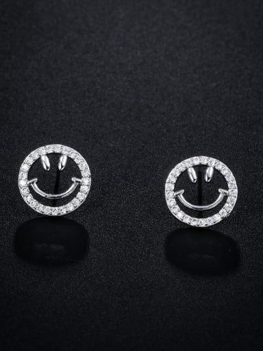 Copper With Cubic Zirconia  Simplistic Hollow Smile  Stud Earrings