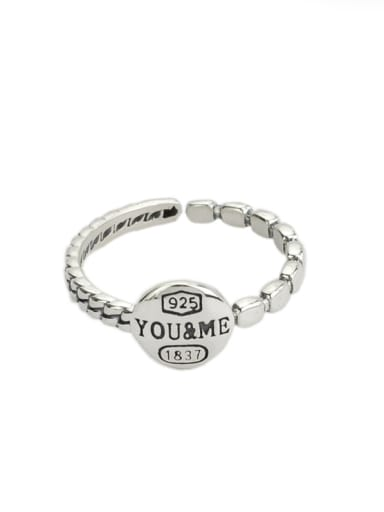 Vintage Sterling Silver With Antique Silver Plated Round Smear Monogrammed Midi Rings