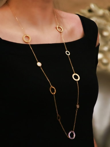 Titanium With Rose Gold Plated Simplistic Round Power Necklaces