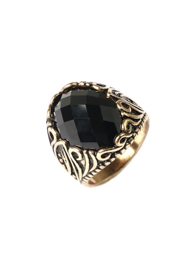 Personalized Retro Black Resin stone Alloy Ring