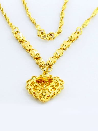 Elegant Double Layer 24K Gold Plated Heart Shaped Necklace