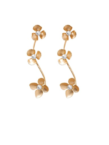 Alloy With Imitation Gold Plated Fashion Flower Drop Earrings