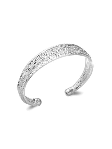 Fashion Wide Silver Plated Copper Opening Bangle