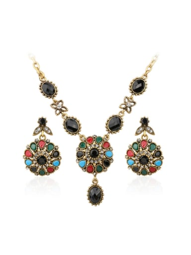 Bohemia style Colorful Resin stones Alloy Two Pieces Jewelry Set