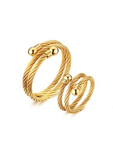 Elegant Gold Plated Double Layer Titanium Two Pieces Jewelry Set