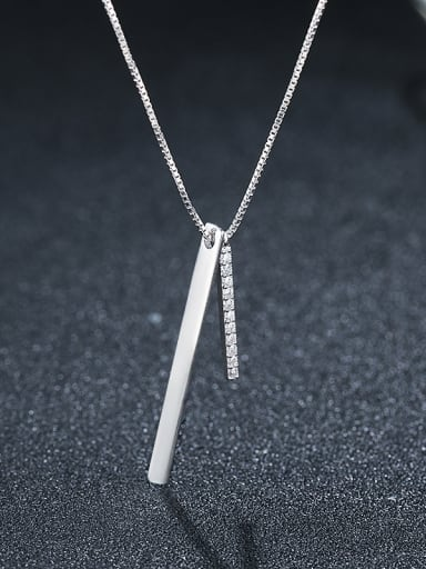 925 Sterling Silver With Platinum Plated Simplistic Strip Necklaces