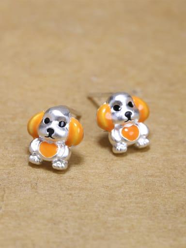 925 Silver Little Puppy Dog Glue Stud Earrings